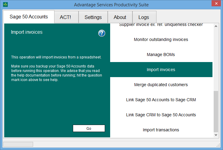 Import customer invoices from Excel