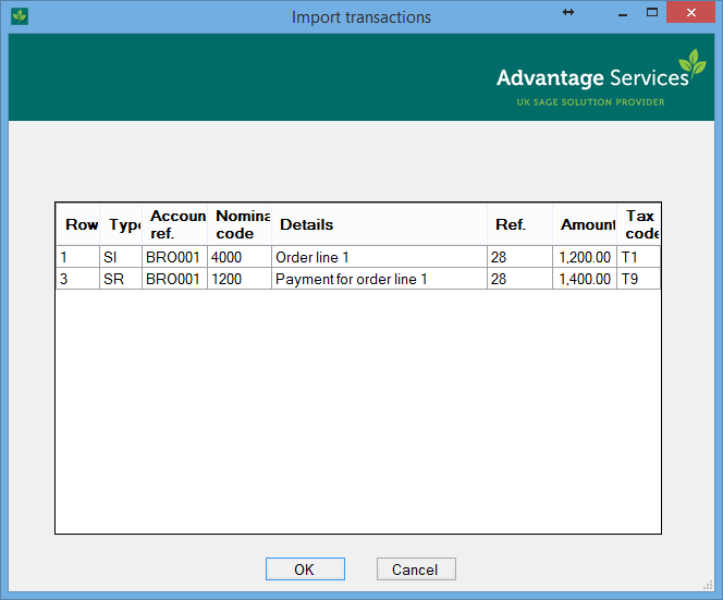Import transactions from excel or csv for Sage line 50 invoice template